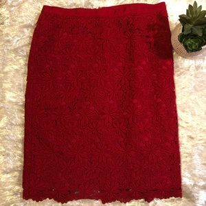Talbots floral lace skirt